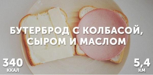 Бутерброд с колбасой, сыром и маслом = 340 ккал
