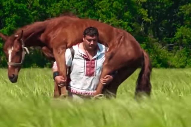 С лошадью на плечах.