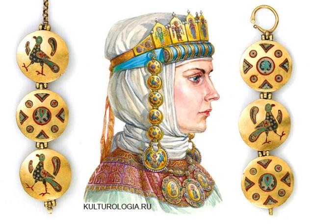 Древнерусский женский головной убор с рясами и колтами.