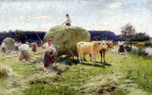 «Сенокос», (ранее 1912), холст, масло — Харьковский художественный музей.  Автор: Николай Пимоненко.