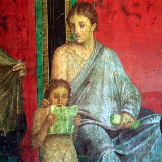 Часть фрески с изображением читающей юной девушки, I век до нашей эры