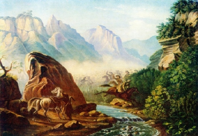 Перестрелка в горах Дагестана. Масло. (1840-1841 г.г.). Автор: М.Ю. Лермонтов.
