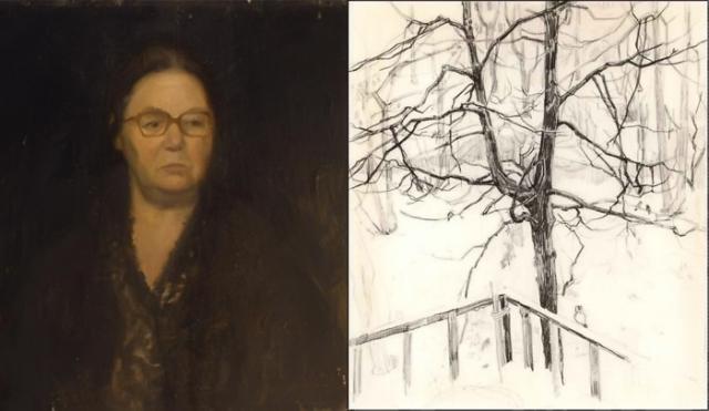 Портрет Майи Копытцевой кисти А.С.Тутунова и ее рисунок