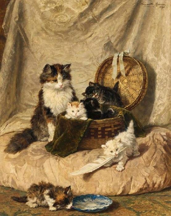 «Играющие котята». (1898). Холст, масло. 91 х 73 см. Автор: Генриетта Роннер-Книп.