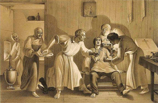 Оскопление. Литография из «Исследования о скопческой ереси Даля» от 1844 года.