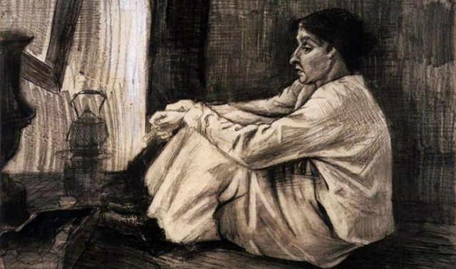 «Син с сигарой, сидящая на полу напротив огня» (1882). Автор: Ван Гог.