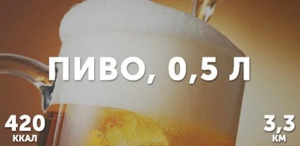 Пиво - 0,5 литра = 420 ккал