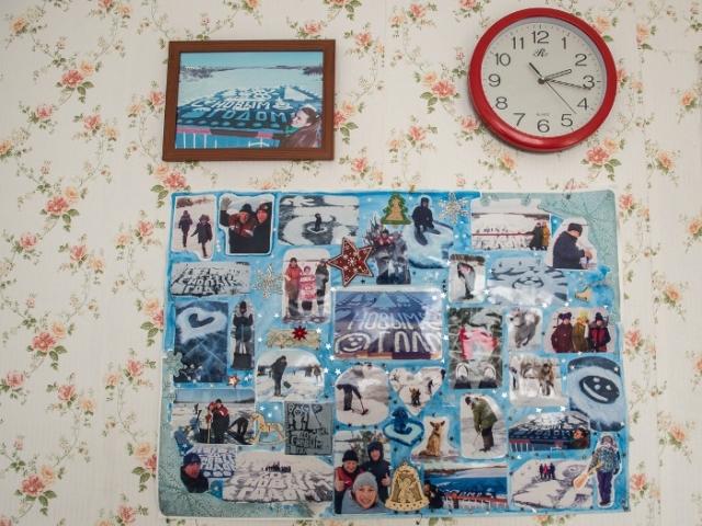 Коллаж из фотографий, сделанных на фоне ледовой открытки. Фото: ampravda.ru