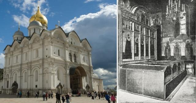 Надгробный царский иконостас в Архангельском соборе (ныне разобран). Мерные иконы установлены во втором ряду, над большими патрональными иконами.