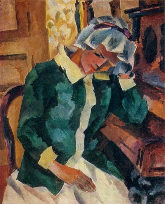 Женщина у пианино (Е.С.Потехина). (1917 г.). Автор: Роберт Рафаилович Фальк.