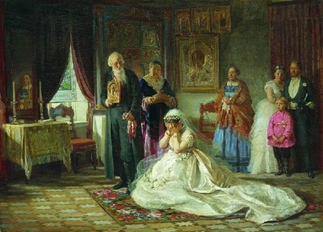«Перед венцом». (1874). Государственная Третьяковская галерея. Автор: Фирс Журавлев.