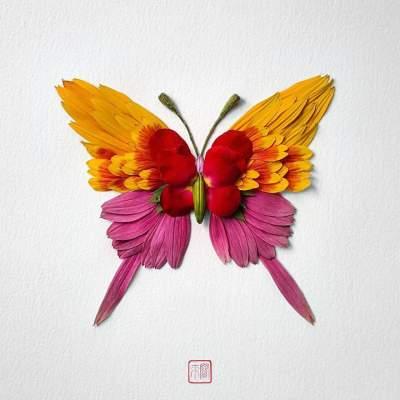 Фантастические фигуры насекомых из цветов. Фото