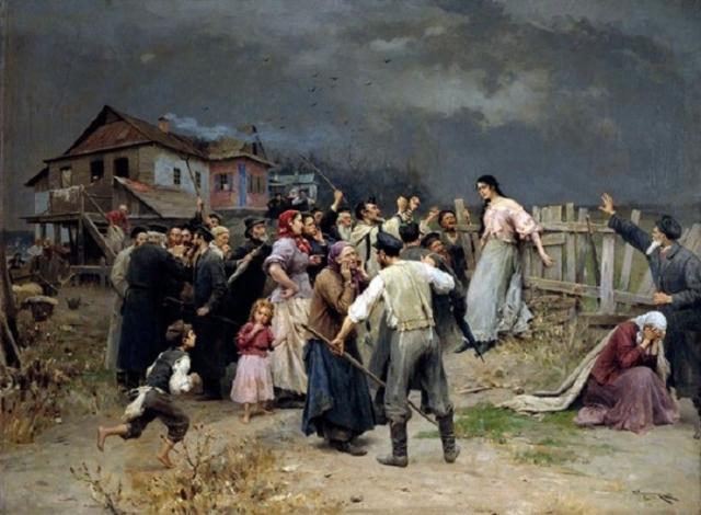 «Жертва фанатизма», (1898), холст, масло — Харьковский художественный музей. Автор: Николай Пимоненко.