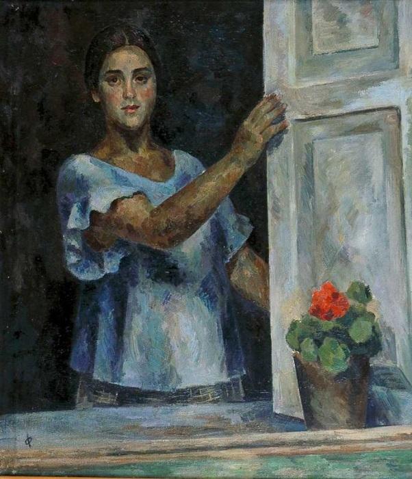 Девушка у окна (Раиса Идельсон). (1926 г.).  Автор: Роберт Рафаилович Фальк.