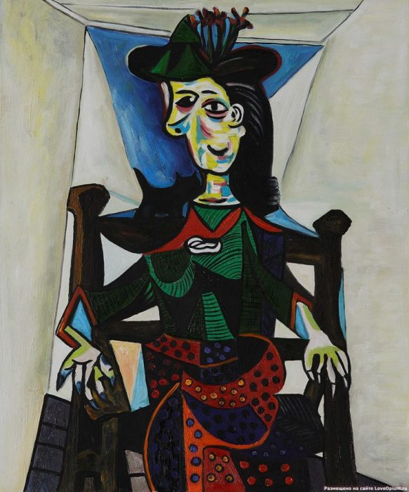 «Дора Маар с кошкой». (1941). Автор: Пабло Пикассо.