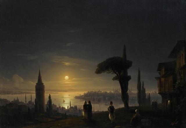 Галатская башня в лунную ночь. (1845). Автор. И.К.Айвазовский.