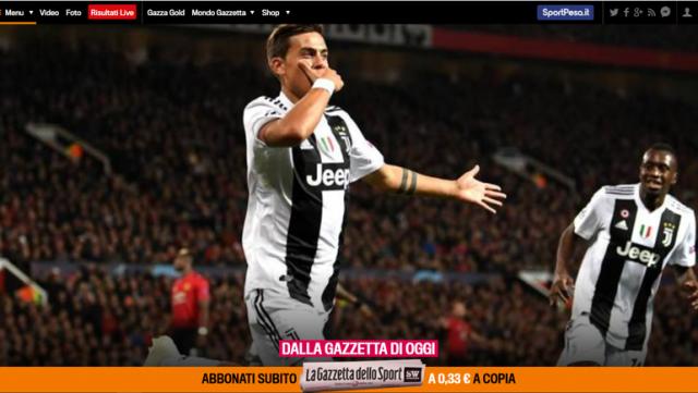 """Обложка итальянской газеты """"La Gazzetta dello Sport"""" после матча """"Манчестер Юнайтед"""" - """"Ювентус""""."""