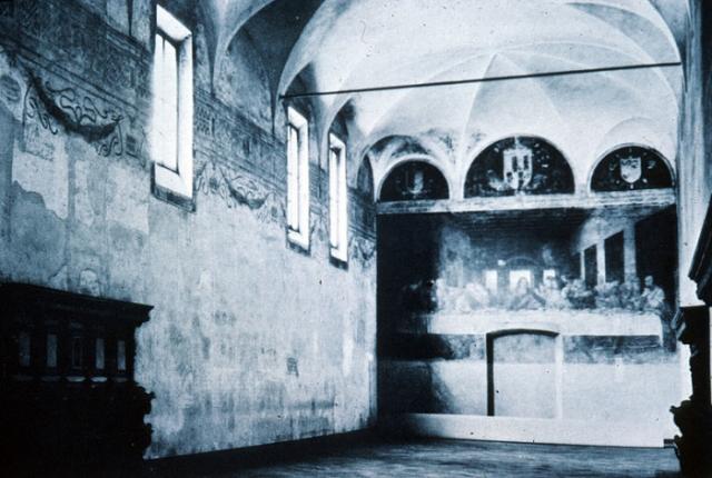 «Тайная вечеря» в миланском монастыре Санта-Мария-делле-Грацие перед Второй мировой войной.   Фото: witcombe.sbc.edu.