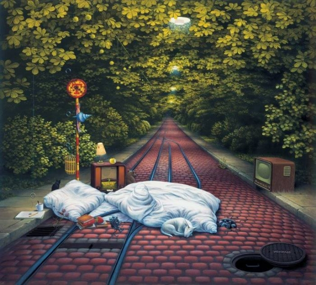 Ожидание трамвая. Автор: Jacek Yerka.