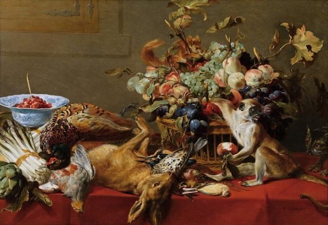 «Натюрморт с обезъянкой, котом и белкой.» (Вена, Коллекция Гогенбухау). Автор: Франс Снейдерс.