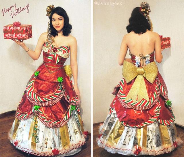 Новогоднее платье из бумаги